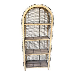 1970s Boho Chic Rattan Woven Bookshelf For Sale
