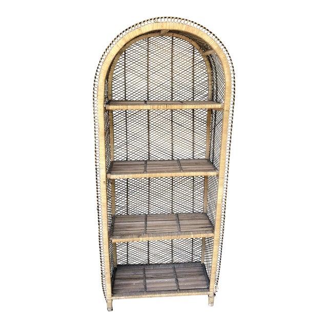 Boho Chic Rattan Woven Bookshelf For Sale