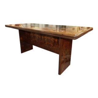 Vintage Roche Bobois Lacquered Burl Wood and Leather Top Writing Desk For Sale