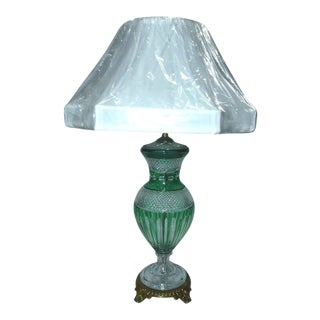 Hungarian Light Emerald Green Crystal Table Lamp For Sale