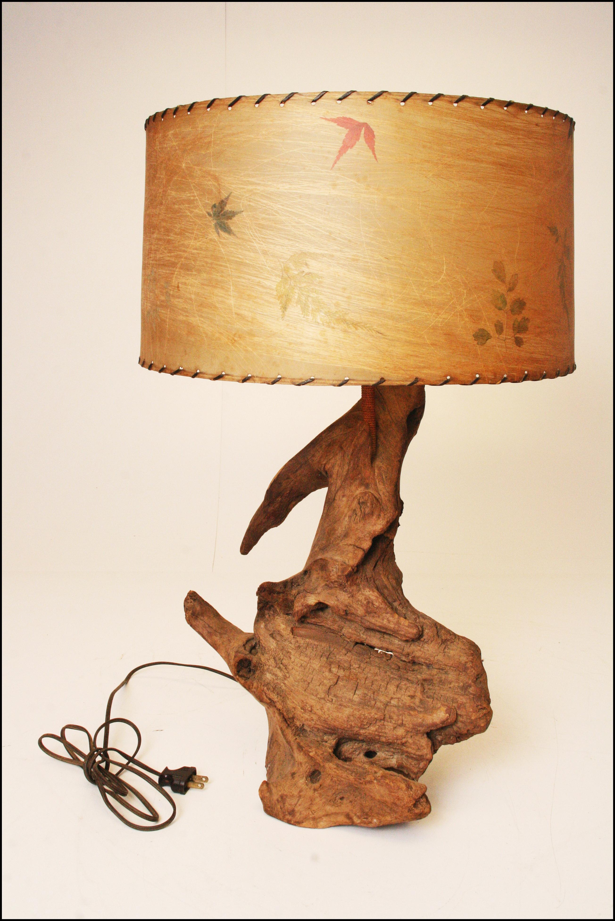 Mid Century Modern Driftwood Lamp With Spun Fiberglass Shade   Image 2 Of 11