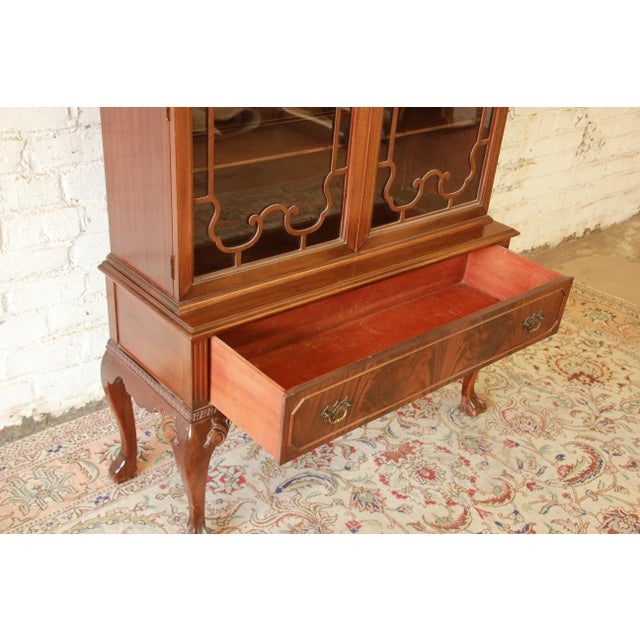 1930s Antique French Chippendale Mahogany Cabinet For Sale - Image 5 of 7