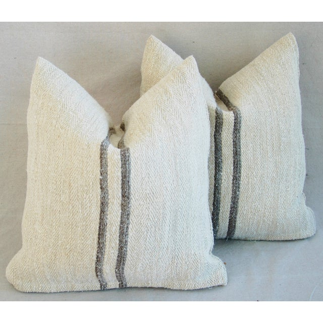 French Grain Sack Pillows - A Pair - Image 3 of 11