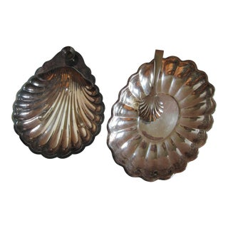 Vintage Scallop Serving Dishes & Tongs - 3 Pieces For Sale