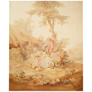 19th Century Antique Tapestry From Aubusson, a Romantic Scene For Sale