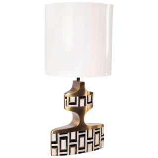 Geometric Table Lamp in Shagreen, Shell and Bronze Patina Brass by R&y Augousti For Sale