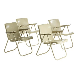 Russel Wright Samson or Samsonite Patio Folding Chairs by Schwayder Bros. Inc. - Set of 4 For Sale