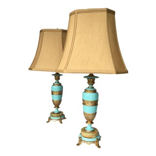 Robin's Egg Blue Rembrandt Lamps With New Gold Shantung Shades - a Pair For Sale