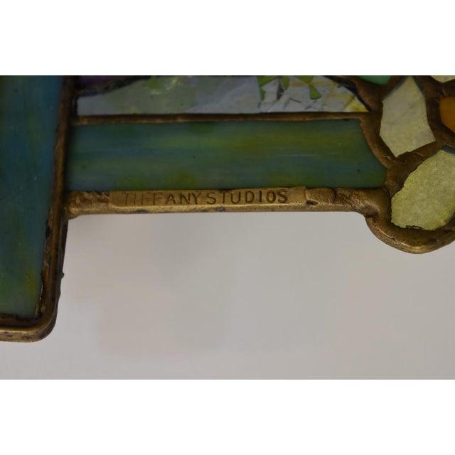 "Tiffany ""Flowering Trellis"" Glass & Bronze Pendant - Image 5 of 8"