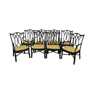 McGuire Style Set 8 Black Rattan Bamboo Dining Chairs For Sale