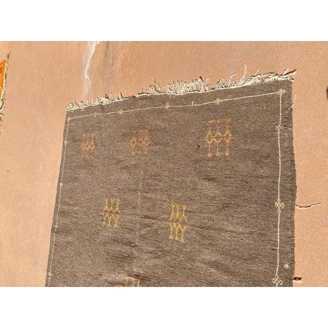 Moroccan Vintage Flat-Weave Brown Rug For Sale - Image 12 of 13