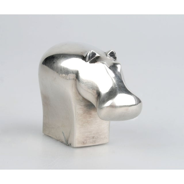 Dansk Dansk Silver-Plate Hippo Paperweight For Sale - Image 4 of 8