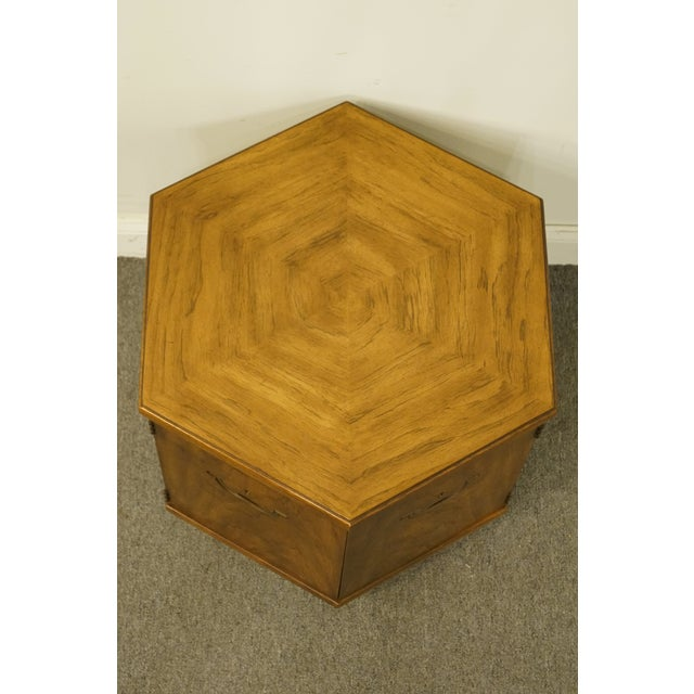 Drexel Heritage 20th Century Campaign Drexel Heritage Accolade II Collection Hexagonal Storage Cabinet For Sale - Image 4 of 11