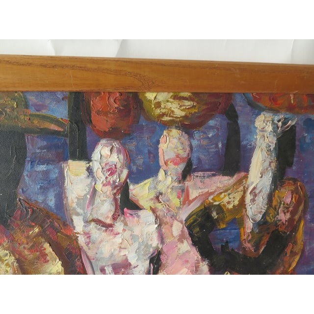 """1960s Abstract Oil Painting on Canvas, """"Jamaican Ladies"""" For Sale - Image 4 of 6"""