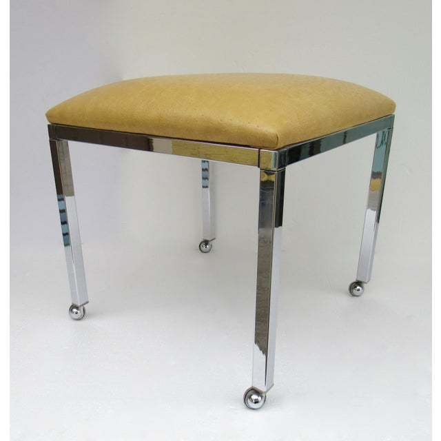 Vintage: C1960s-70s, Mil Baughman chrome bench or stool with original production chrome castors. This bench also has the...