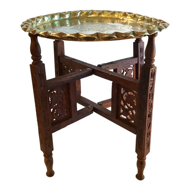 20th Century Campaign Carved Wood and Brass Tray Top Table For Sale