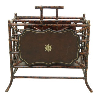 Maitland Smith Bamboo & Leather Canterbury Magazine Rack For Sale