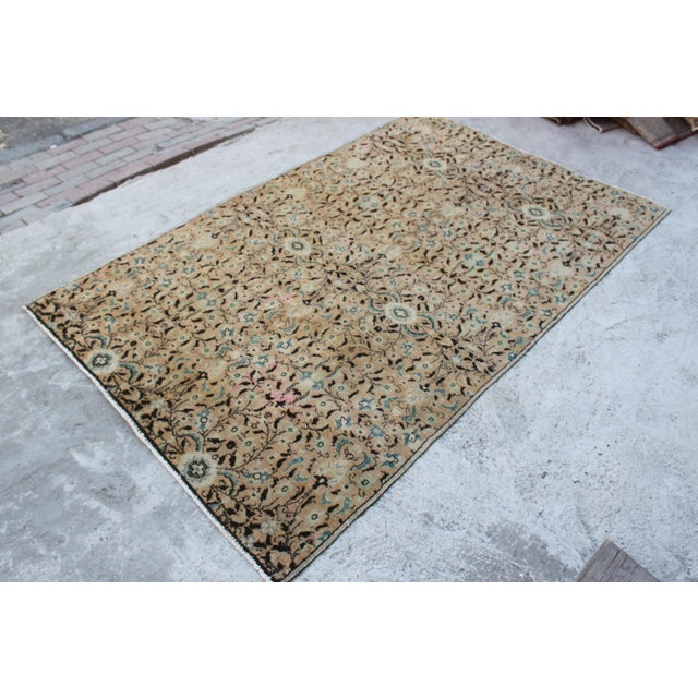 Islamic Handmade Anatolian Oushak Wool Rug - 4′4″ × 7′1″ For Sale - Image 3 of 6