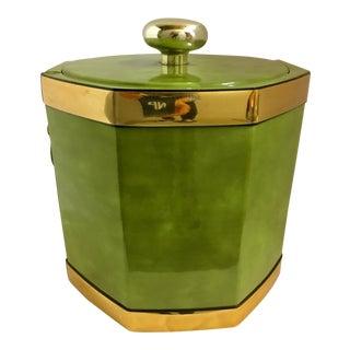 Mid-Century Modern Green Vinyl Ice Bucket For Sale