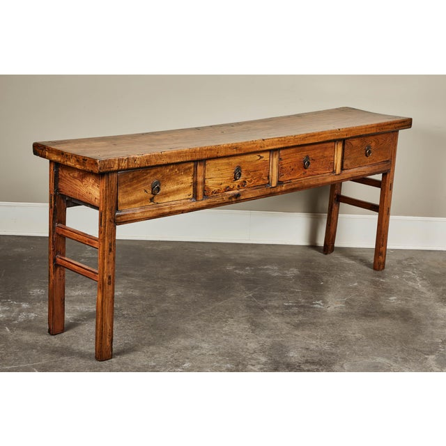 Asian 19th C. Chinese Elm Four Drawer Altar Table For Sale - Image 3 of 10