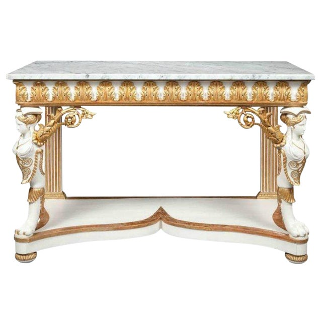 Italian Empire White Painted and Parcel Gilt Console Table Circa 1825 For Sale - Image 11 of 11