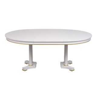 Traditional Extendable White Lacquered Finish Dining Table by Baker Preview