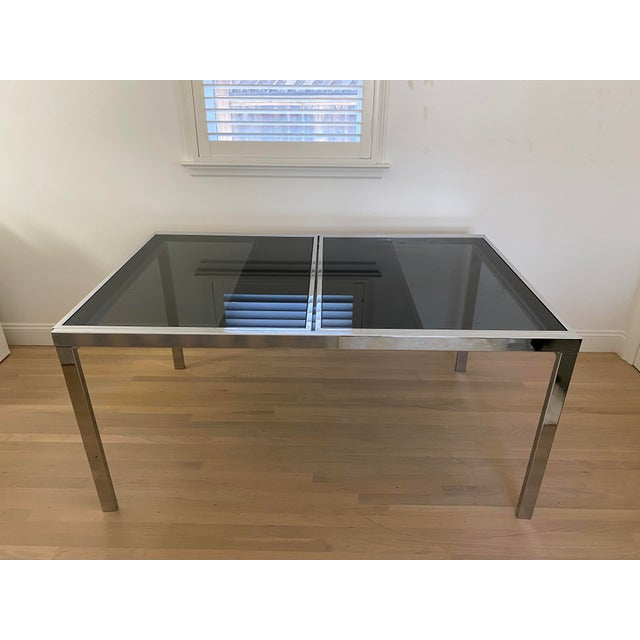 Milo Baughman 1970's Chrome and Smoked Glass Extension Dining Table by Milo Baughman For Sale - Image 4 of 13