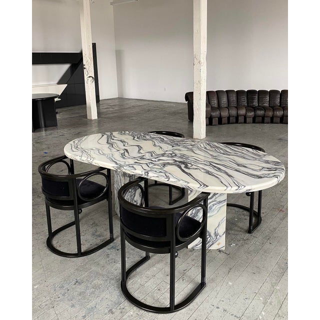 1980s Postmodern Oval Marble Dining Table For Sale - Image 4 of 8