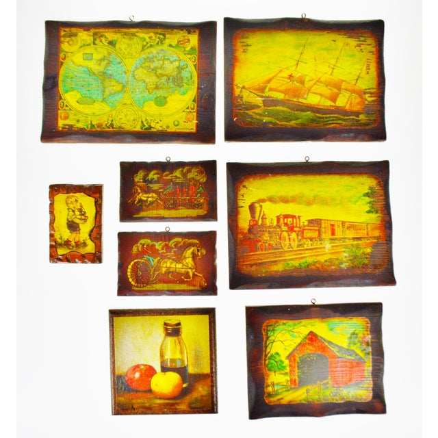 Vintage Carved Wood Decoupage Wall Art Plaques - Group of 8 - Image 11 of 11