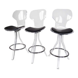 Modern Lucite Swivel Bar Stools - Set of 3 For Sale