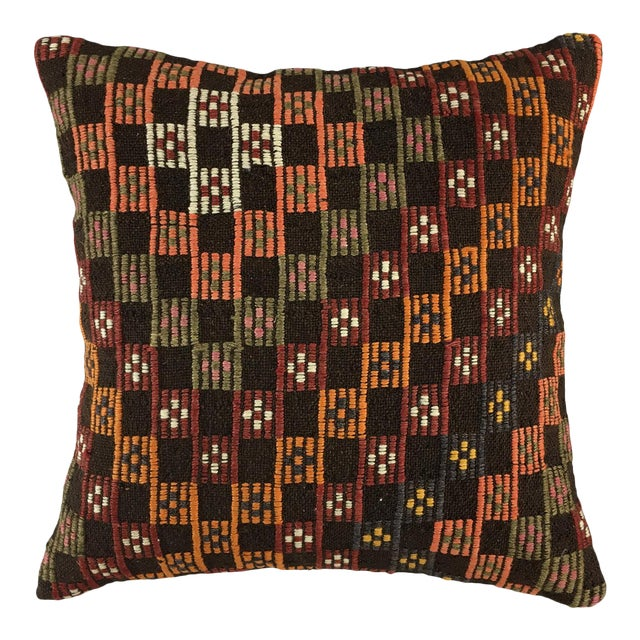 """Contrasting Checkers Vintage Kilim Pillow 