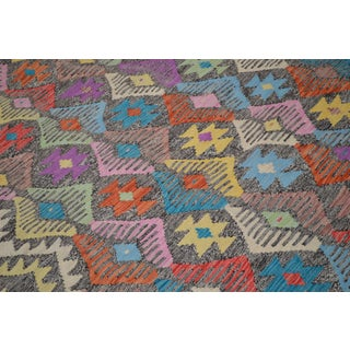 "Colorful Geometric Maimana Kilim - 6'5"" x 9'8"" Preview"