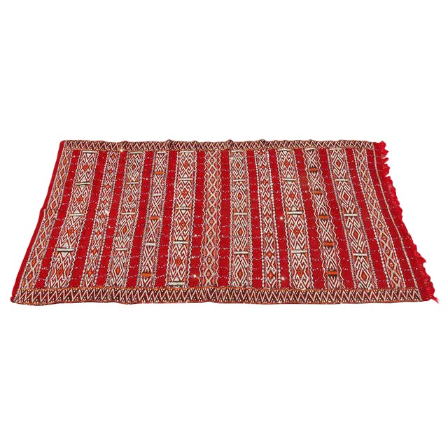 Moroccan Tribal Wedding Rug With Sequins North Africa For Sale
