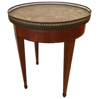 French Directoire Mahogany Satinwood Brass & Marble Side Table For Sale