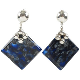 Silver Plate and Blue Marble Lucite Dangle Chandelier Clip-On Earrings For Sale