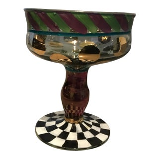 Original Hand Painted Mackenzie Childs Champagne Glass/ Serving Bowl For Sale