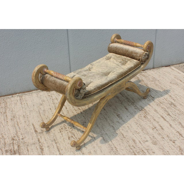 Cream 1940s French Scroll Arm Bench For Sale - Image 8 of 13