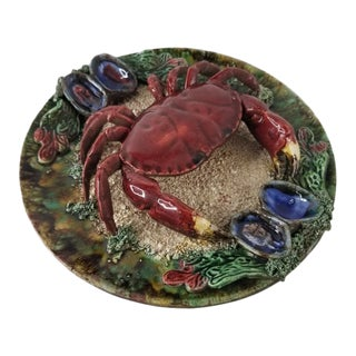 Vintage Majolica Palissy Style Crab Plate - Tromp L' Oeil Portuguese Platter For Sale