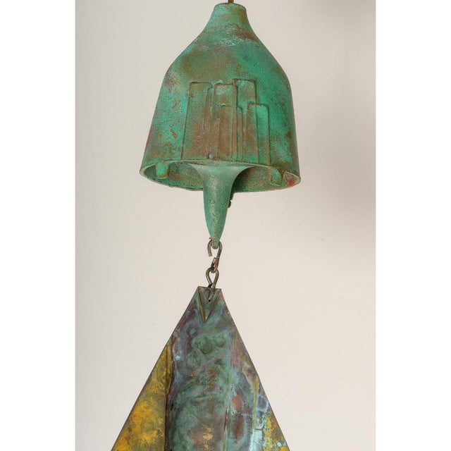 Green Mid-Century Modern Brutalist Bronze Wind Chime by Paolo Soleri For Sale - Image 8 of 12