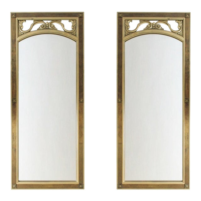 Mid-Century Modern Gilded Wood & Brass Wall Mirrors - A Pair - Image 1 of 6
