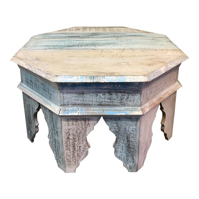 Sunrise Home Custom Wash Moroccan Style Octagonal Side Table - Image 1 of 8