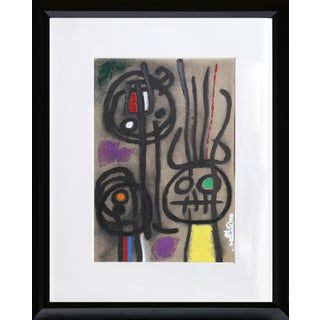 """Cartones 17: Personnage Et Oiseau"" Framed Lithograph by Joan Miro For Sale"