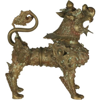 Ornate Standing Bronze Fu Dog Sculpture For Sale
