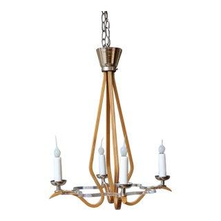 Mid-Century Bentwood and Lucite Chandelier For Sale