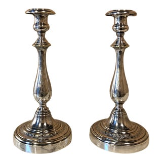 Pair Candlesticks, Antique Engraved Silverplate For Sale