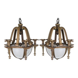 Caldwell Neoclassic Style Chandeliers With Opaline Glass Panels Inset - a Pair For Sale