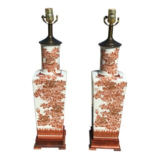 White Coral Porcelain Vase Table Lamps - a Pair For Sale