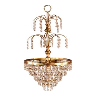 1950s Circa 1950 Wedding Cake Brass and Crystal Chandelier For Sale