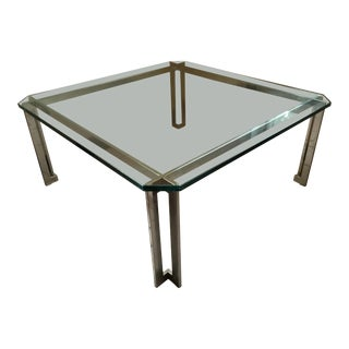 1980s Mid-Century Modern Glass Top Square Chrome Base Coffee Table For Sale