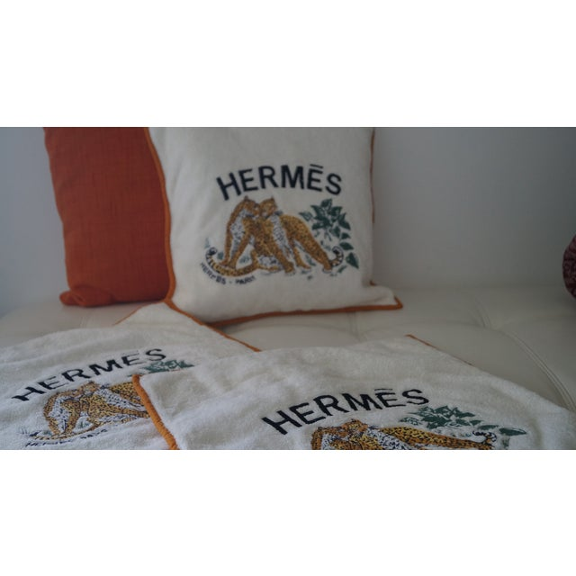 Orange Hermes Cushion Covers With Tiger Embroidery - Set of 3 For Sale - Image 8 of 12